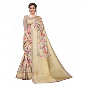 BHAKARWADi (RUC-321) Beige Floral Khadi Silk Saree With Blouse Piece