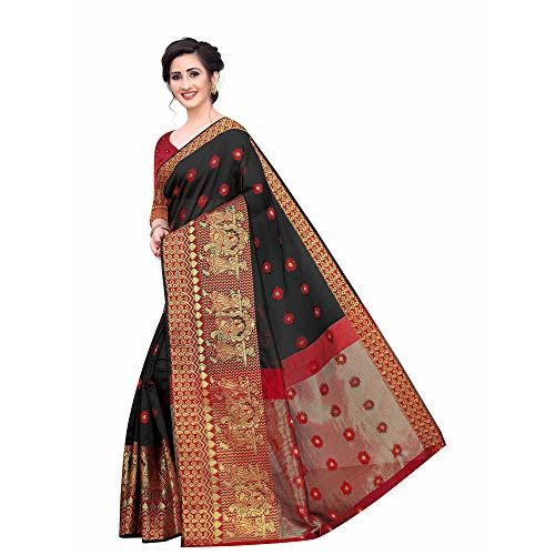 Regolith Designer Sarees Women's Banarasi Cotton Silk Saree With Blouse Piece (Black)