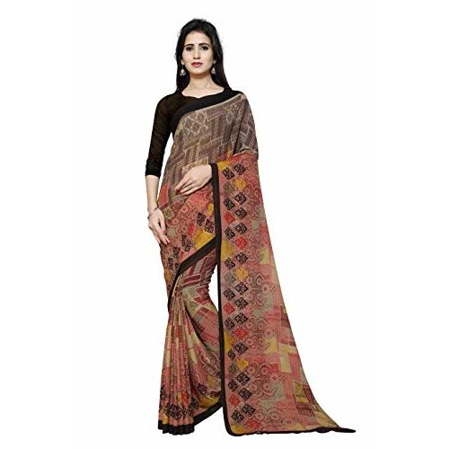 Winza Designer Women's Georgette Saree with Blouse (G-30-BROWN_Brown)
