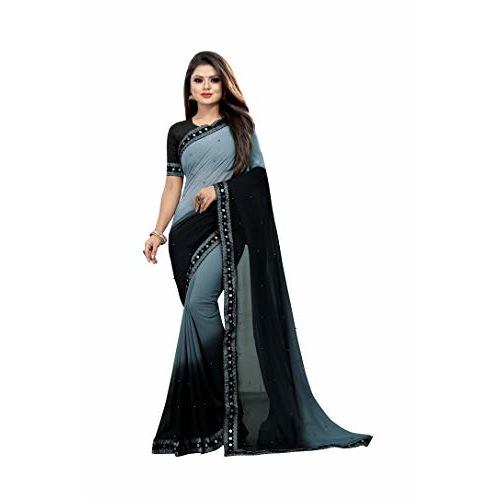 Fashion Day Women's Georgette Saree with Blouse Piece (1070-A, Grey Black)