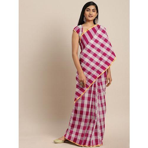 Pavechas Checkered Venkatagiri Pure Cotton Saree(Pink)