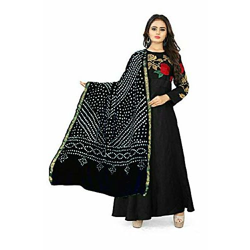 Generic ASHA CREATION women's BANDHANI SILK dupatta with BANDHEJ work BLACK colour panna