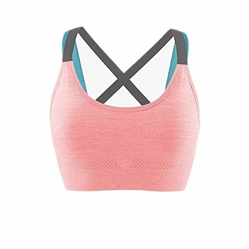 Ritu-Creation Women's Nylon & Spandex Lightly Padded, With Removable Pads Non-Wired Sports Bra (RCWSB0026_Light Orange_Free Size)