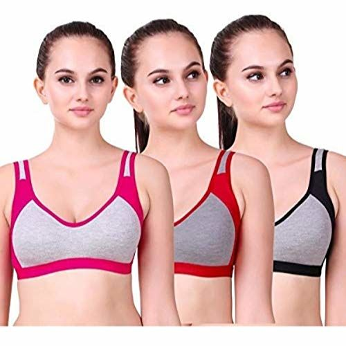 Alive Women's Cotton Non Padded Non-Wired Sports Bra (Pack of 3) (Gau_26_Multicolor_28)