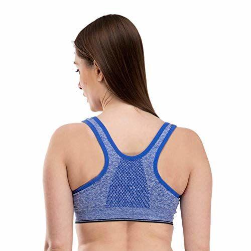 Mysha Women's Cotton Lightly Padded Non-Wired Sports Bra (bluchn_Blue_Free Size)