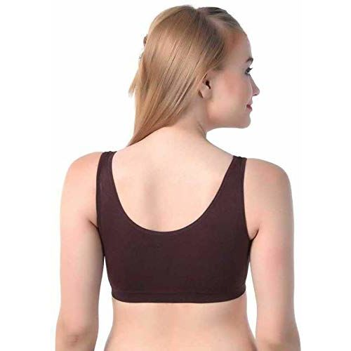 Pipal Women's & Girls' Non-Padded Non-Wired Sports Bra (Pack of 3) (AirComboN-904_Black Brown & Blue_Free Size)