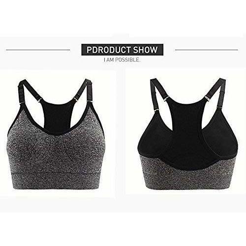 Pipal Women's & Girls' Cotton; Polyester & Spandex Padded Non-Wired Sports Bra (NEWDESIGNBRA.GREY_Grey_Free Size)