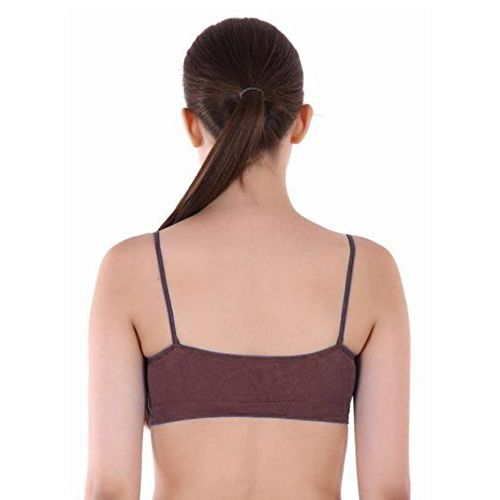 Dilency Sales Dilency-Sales Air Bra Stretchable Thin/Thick Belt Non-Padded Seamless bra for Womens/Girls ( PACK OF 3 ) (B, Black-Brown-Nevy-Blue)