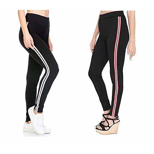 HELISHA Gym wear Leggings| Yoga Track Pants for Girls & Women (Black)(Pack of 2) FREE-SIZE(26-32 WAIST-SIZE) (Black With Blue-Line+White-Line, Free-Size(26-32 Waist))