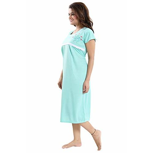 Fabme Women's Maternity Night Dress (NW0182_Light Green_Free Size)