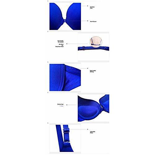 Brachy Women's Front Closure Multi-Way Padded Push-Up Bra BCA_FOPPB04_30A_Blue