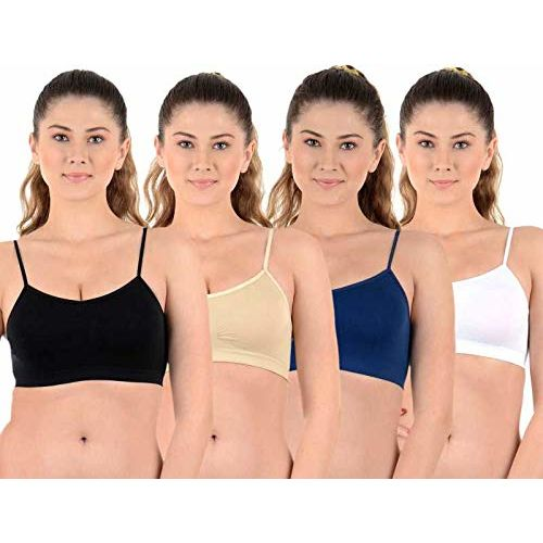 SQIN Air Bra, Sports Bra, Stretchable Thin Lace Non-Padded and Non-Wired Bra for Women and Girls, Free Size (Size 28 to 36) (Pack of 4)