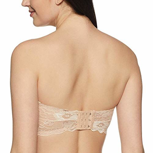 Mysha Beige Spandex & Nylon Lightly Padded Non-Wired Bandeau Bra