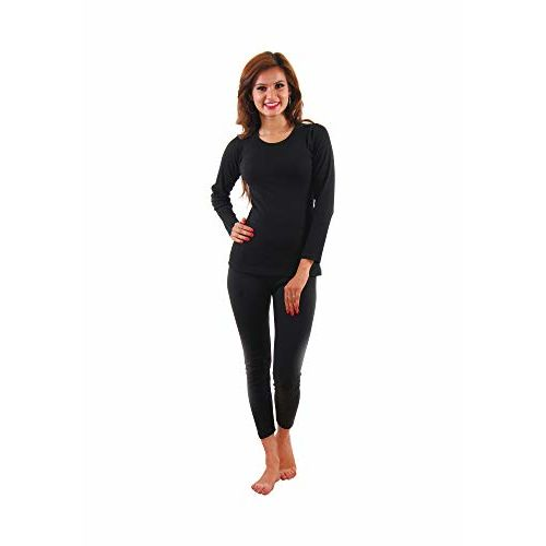 Yorker Women Thermal Wear Soft Cotton Set Top and Bottom Warmer for Winter Black