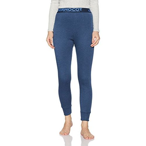 Rupa Thermocot Women's Plain/Solid Synthetic Thermal Bottom (Volcano_Blue_75)