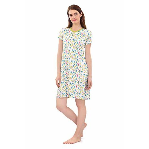 Zebu Women's Cotton Printed V-Neck Long Polo Nightdress (Large)- Pack of 2