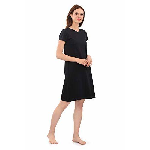Zebu Women's Cotton Long Polo V-Neck Nightdress (Black, Medium)- Pack of 2