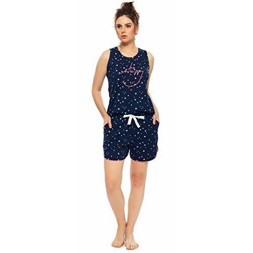 ZEYO Women's Cotton Navy Blue Star Print Night Suit
