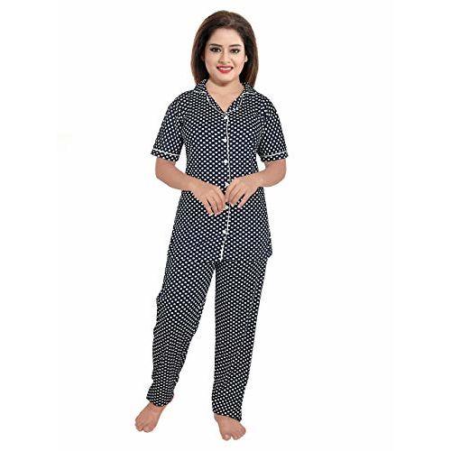 YKI Women's Cotton Night Suit (Dotts-Black-1637, Large)
