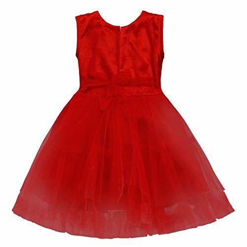 Wish Karo Baby Girls' Knee Length Dress (Fe2668Rd_0-3 Months_Red_0-3 Months)