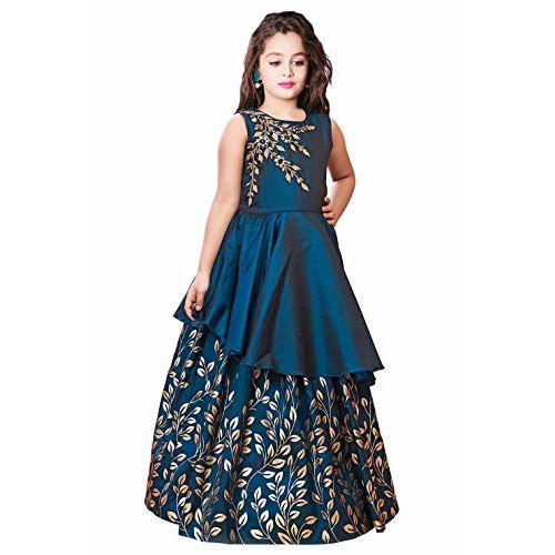 White Button Kids Blue Embroidery N Golden foil Satin redaymade Festive Gown Dress for Girls. (2-3 Years)