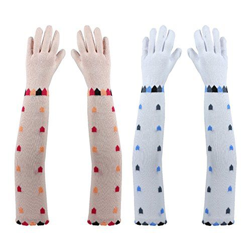 Footmate UV Sun Protection Driving Gloves Women with Breathable Cotton Material, Elbow Length Combed Cotton and Spandex Lightweight Hand Glove for Womens /