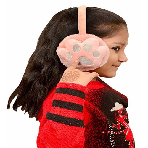 New Vastra Lok Girl's I Boys Foot Print Pattern Winter Outdoor Wear Adjustable Size Ear Muffs/Warmer for Kids, Ideal Head Accessory during winters. (Pink)