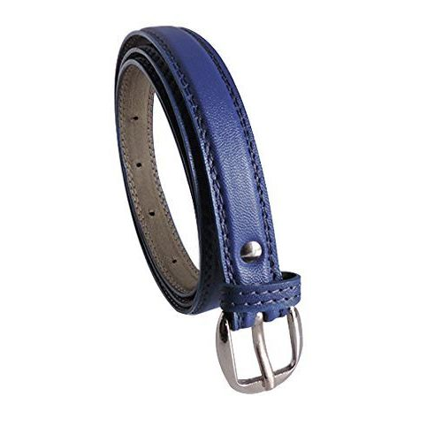 Krystle Prime Girl's Combo Set Of 2 PU leather belts Blue & White)-B0799GKL62