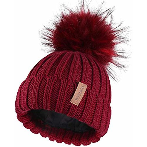 Malvina Girl's Winter Knitted Beanie Hat with Faux Fur Pom Fleece Lined Warm Beanie (Red)