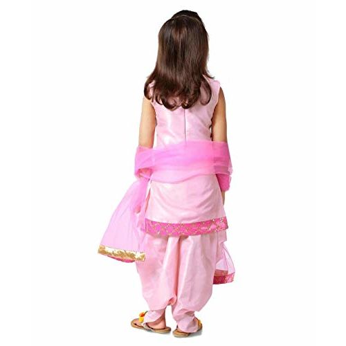Sashay Boutique Kids Girls Pink Salwar suit (kurta, Dhoti & Dupatta) (8-9 Years, Pink)