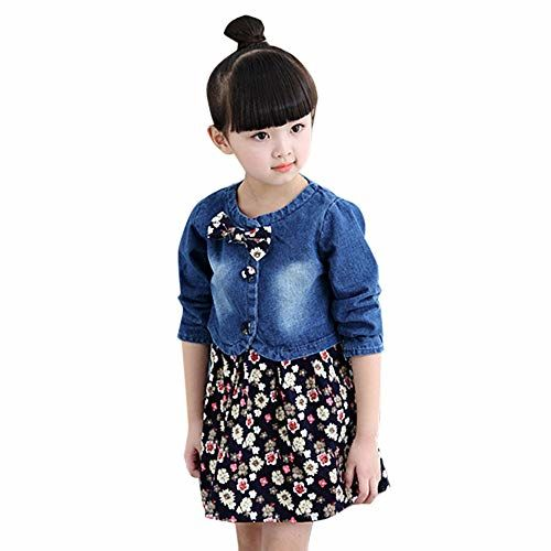 Hopscotch Girls Poly Cotton All Over Print Dress with Jacket in Blue Color for Ages 2-3 Years (ADX-2363065)