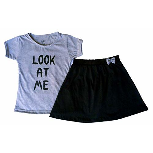 Twist Fab Baby Girl's Cotton Hosiery Fashion Printed T-Shirt Top and Skirts Set (Grey and Black, 2-3-Years)
