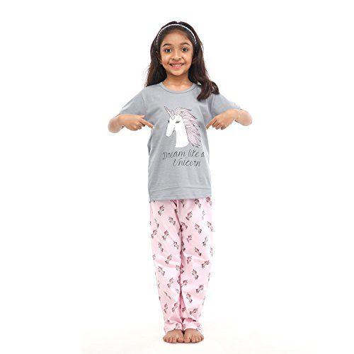 NITE FLITE Girls' Unicorn Print Cotton Nightwear  Top and Pyjama Set (Multi-Colour, 2)