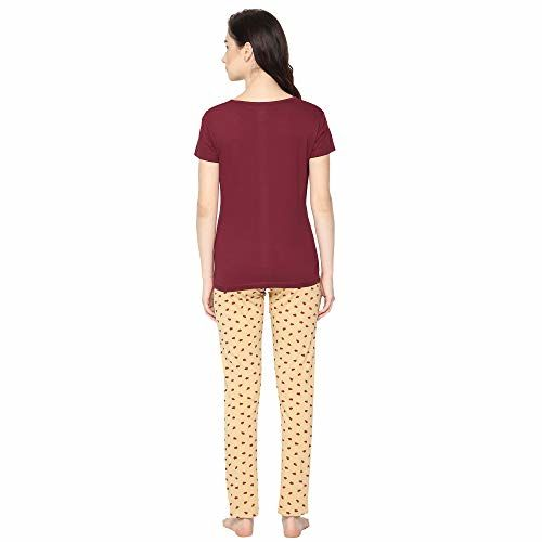 Poppy Girls Cotton Printed Top and Pyjama/Night Suit Set (Pack of 1) Maroon