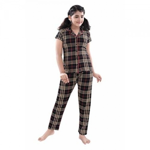9shines Label Premium Cotton Printed Pyjama Set | Night Suit | Night Dress for Girls. (Brown Checks, 6-7 Years)
