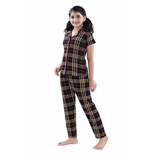 9shines Label Premium Cotton Printed Pyjama Set | Night Suit | Night Dress for Girls. (Brown Checks, 6-7 Years)
