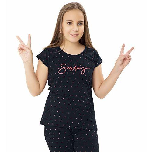 ZEYO Girls Cotton Dark Navy Blue Night Suit | Night Dress with Triangle Print