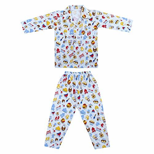 Superminis Baby Boy's and Baby Girl's Hosiery Cotton Full Sleeves Nursery Print Night Suit (6-12 Months)