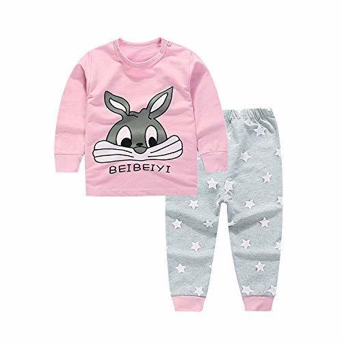 Bold N Elegant - Be Bold Inside & Elegant Outside Boy's and Girl's Cute Bugs Bunny Kitty Tom Cartoon Printed Pyjama T-Shirt Pant Set (Pink and Grey, 2-3 Years)