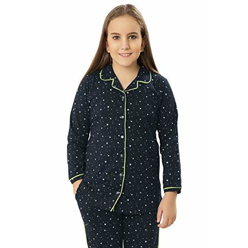 ZEYO Girls Cotton Navy Blue Night Suit & Night Shirt| Front Open Night Dress with Star Print