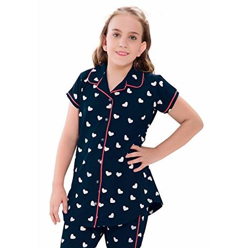 ZEYO Girls Cotton Navy Blue Night Suit & Night Shirt| Front Open Night Dress with Heart Print