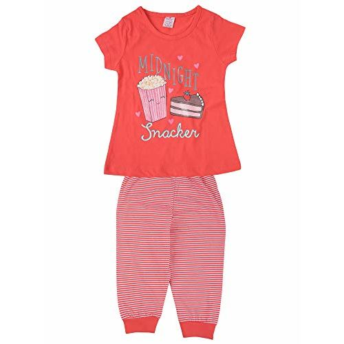Smarty Girls Half Sleeves Night Suit 12-18 Months, 100% Cotton Top and Pyjama Set, Color: Orange (456), Ideal for: Day Wear | Night Wear | Summer Wear | Night
