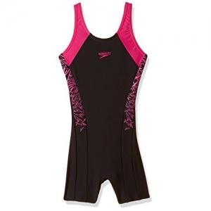 Speedo Girls Swimwear Boom Splice Legsuit (810845B344_Black and Electric Pink_24)