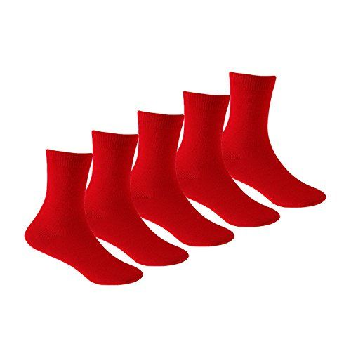 Supersox Kid's Combed Cotton School Socks Pack of 5 (Red)