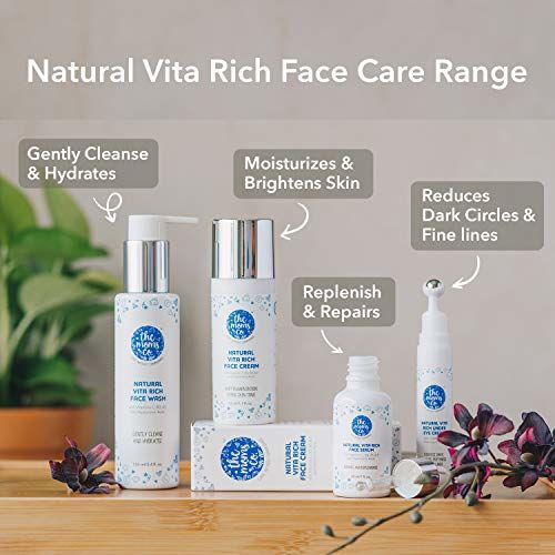 The Moms Co. Natural Vita Rich Under Eye Cream with Cooling Massage Roller to Reduce Dark Circles, Puffiness and Fine Lines with Chia Seed Oil, Coffee Oil,