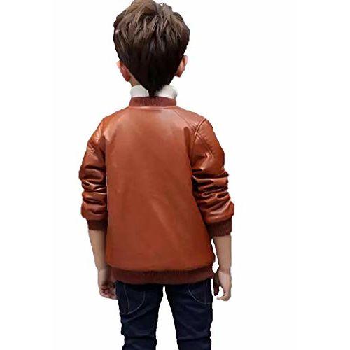 Generic Kids Brown Leather Full Sleeve Jacket