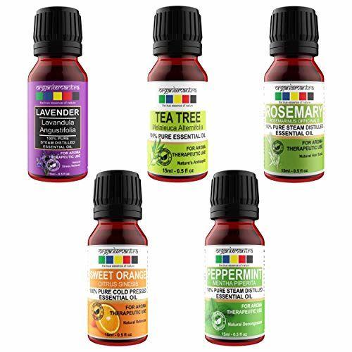 Organix Mantra Essential Oils (Lavender, Tea Tree, Rosemary, Sweet Orange, Peppermint), 15ML - Set of 5