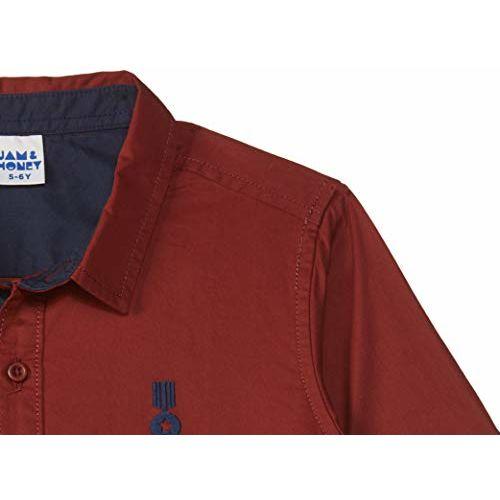 Amazon Brand - Jam & Honey Boy's Plain Regular fit Cotton Shirt (JHAW19BSHR1323_Maroon 2-3 Years)