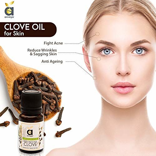 Anveya Indonesian Clove Essential Oil, 100% Natural & Pure, 15ml, for Hair Care, Acne, Toothache & Aroma Diffuser