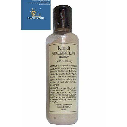 khadi, Soft scrub, Body Scrub, Face scrub, Soft scrub cleanser Whitening Scrub Badam (With Alovera) 210 ml